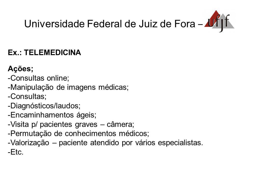 Universidade Federal de Juiz de Fora – Ex.: TELEMEDICINA Ações; Consultas online; Manipulação de imagens médicas; Consultas; Diagnósticos/laudos; Enca