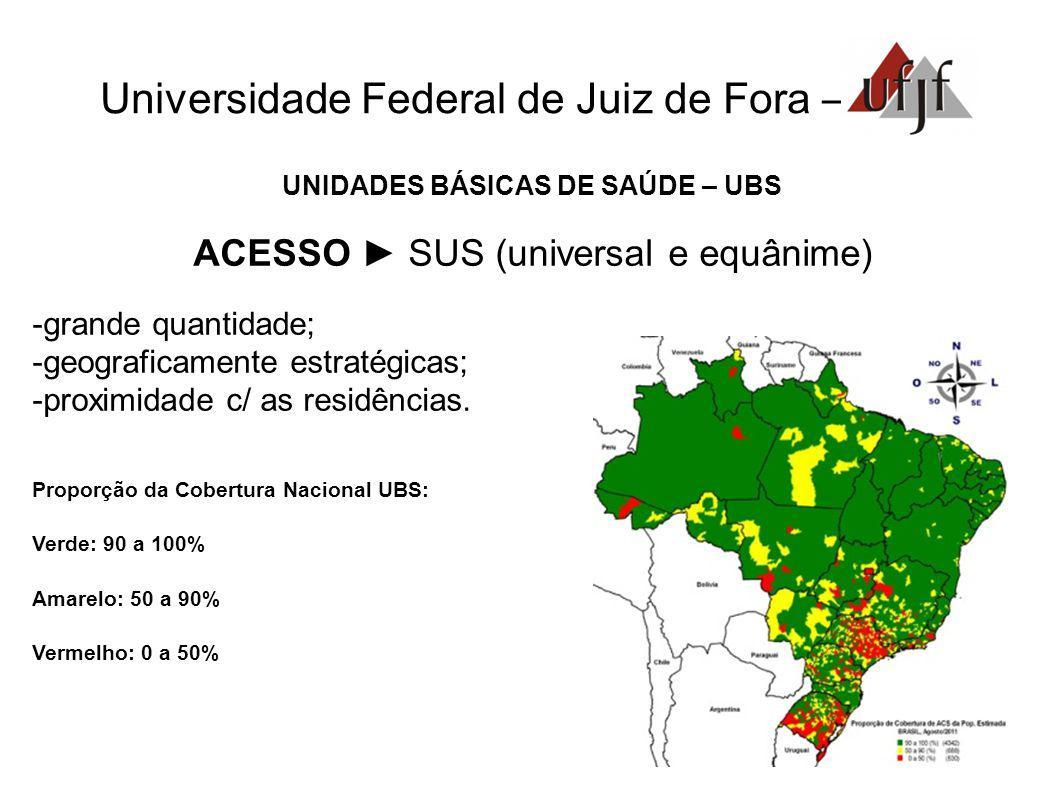 Universidade Federal de Juiz de Fora – UNIDADES BÁSICAS DE SAÚDE – UBS ACESSO SUS (universal e equânime) grande quantidade; geograficamente estratégicas; proximidade c/ as residências.