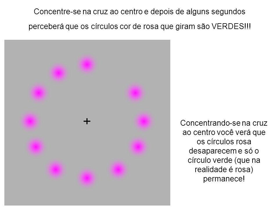 Concentre-se na cruz ao centro e depois de alguns segundos perceberá que os círculos cor de rosa que giram são VERDES!!! Concentrando-se na cruz ao ce