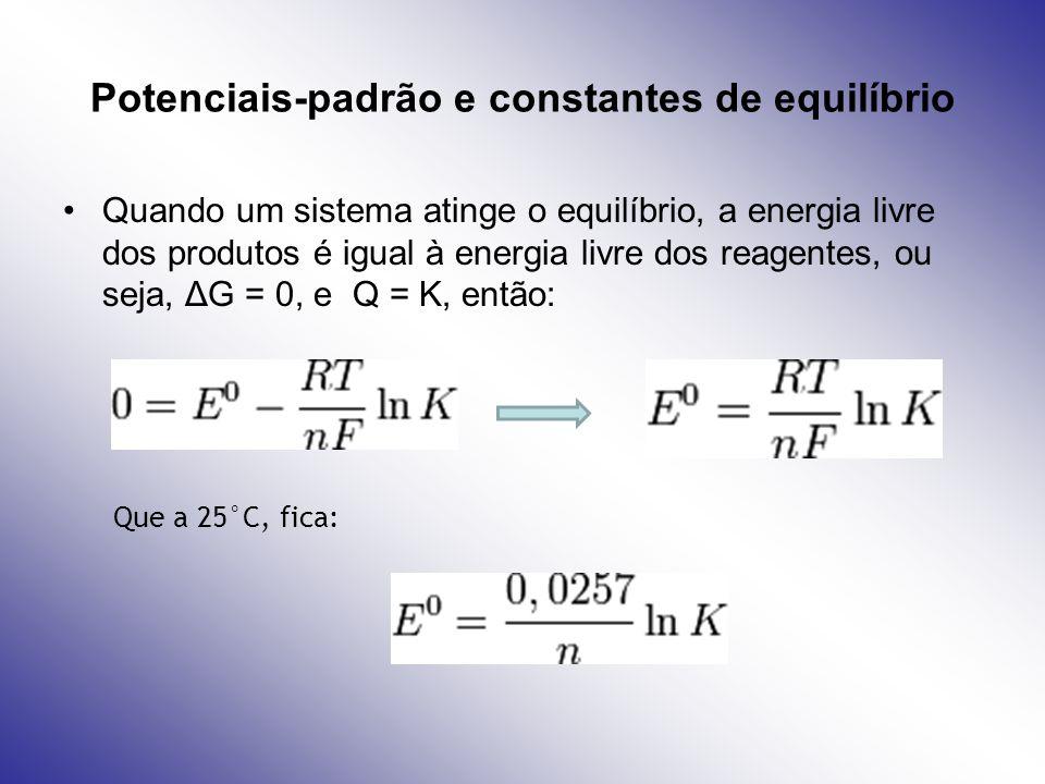 Potenciais-padrão e constantes de equilíbrio Quando um sistema atinge o equilíbrio, a energia livre dos produtos é igual à energia livre dos reagentes