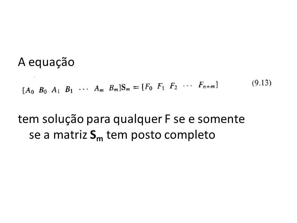 A equação tem solução para qualquer F se e somente se a matriz S m tem posto completo