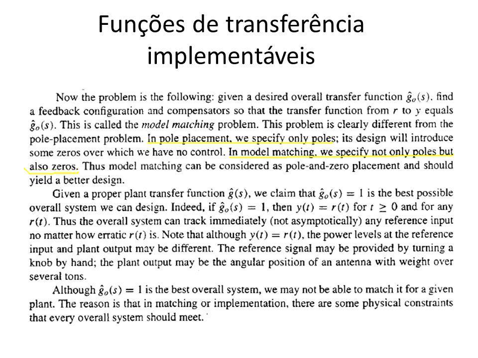 Funções de transferência implementáveis