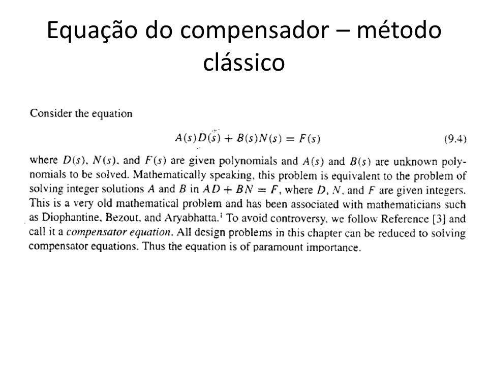 Equação do compensador – método clássico