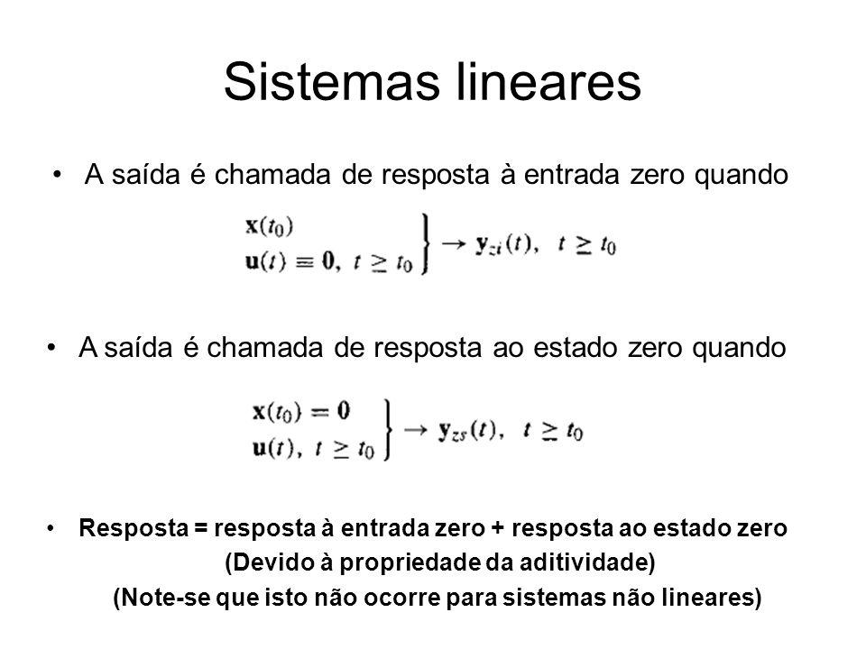 Sistemas lineares A saída é chamada de resposta à entrada zero quando A saída é chamada de resposta ao estado zero quando Resposta = resposta à entrad