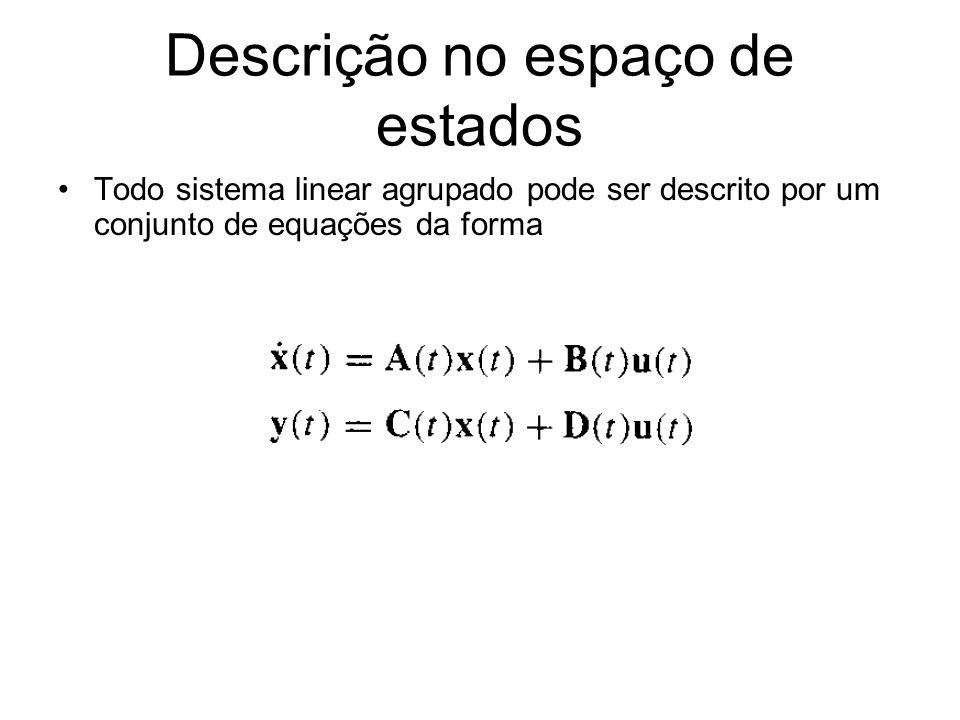 Descrição no espaço de estados Todo sistema linear agrupado pode ser descrito por um conjunto de equações da forma