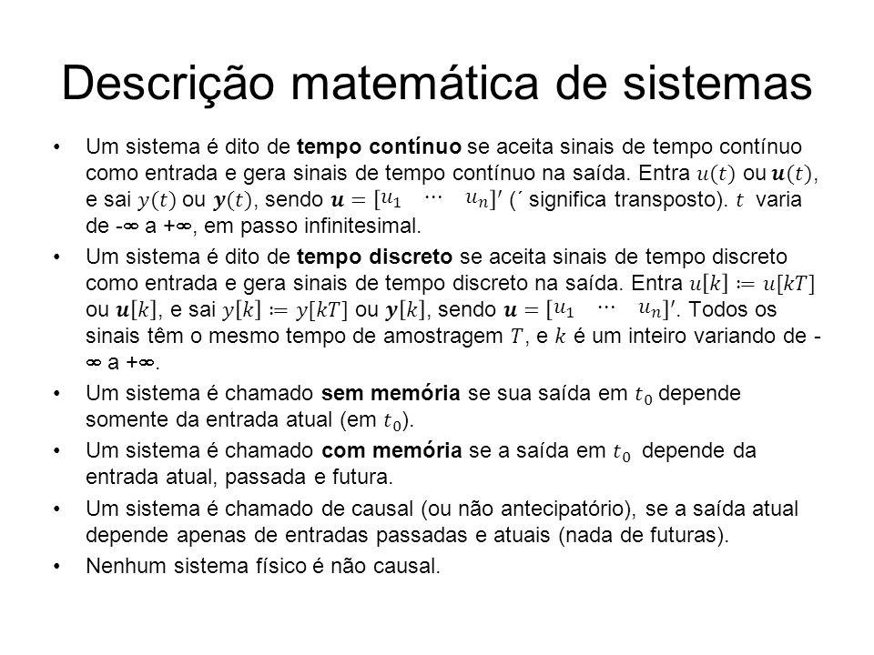 Descrição matemática de sistemas