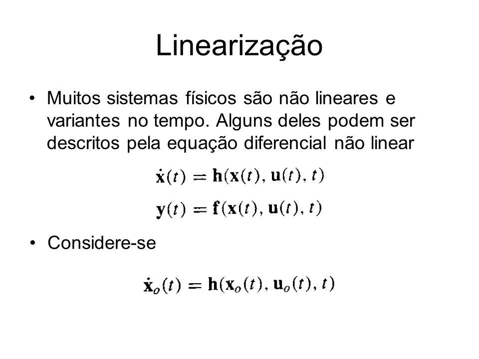 Linearização Muitos sistemas físicos são não lineares e variantes no tempo. Alguns deles podem ser descritos pela equação diferencial não linear Consi