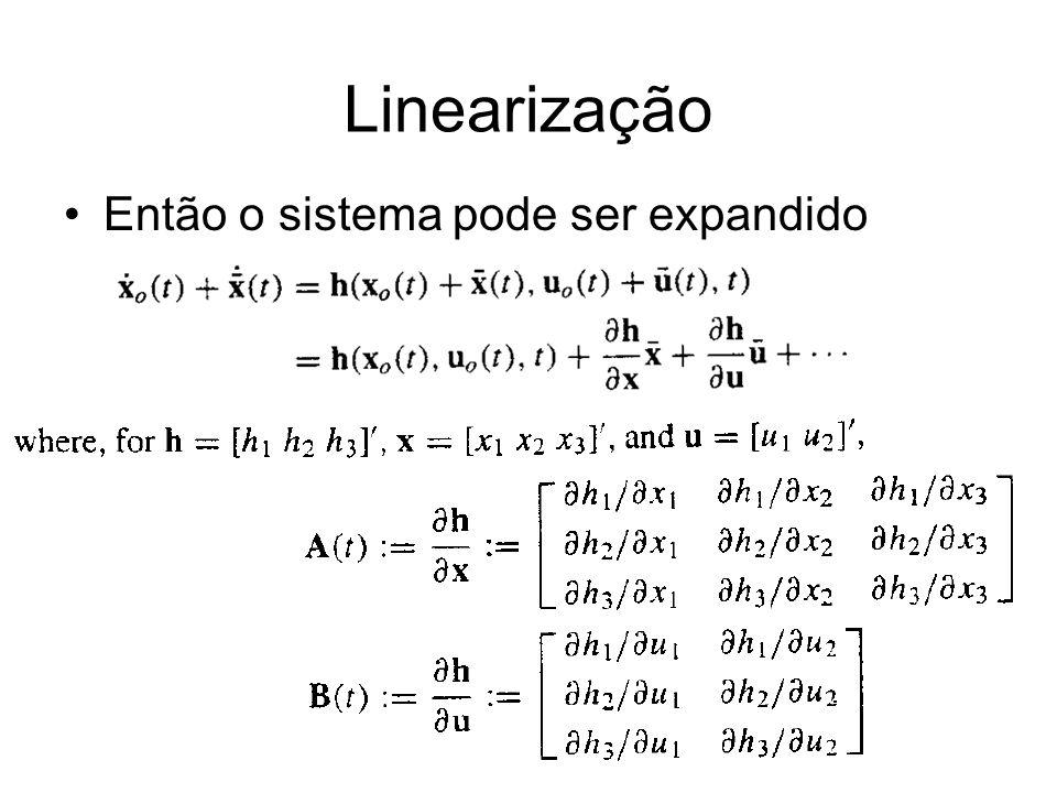 Linearização Então o sistema pode ser expandido