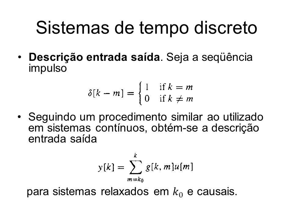 Sistemas de tempo discreto Descrição entrada saída. Seja a seqüência impulso Seguindo um procedimento similar ao utilizado em sistemas contínuos, obté