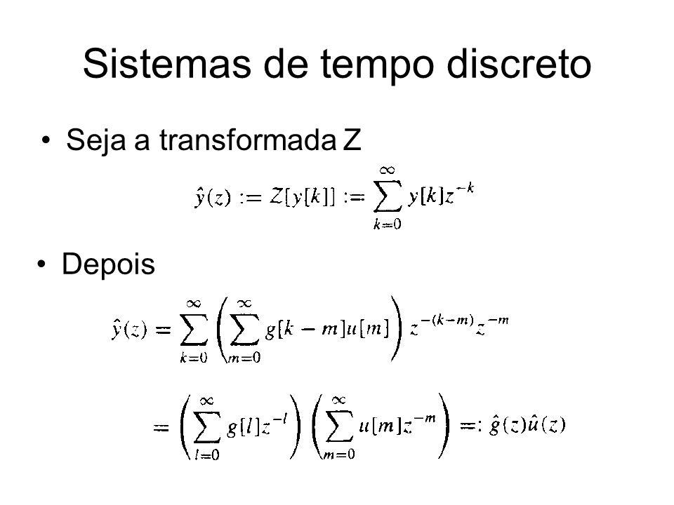 Sistemas de tempo discreto Seja a transformada Z Depois