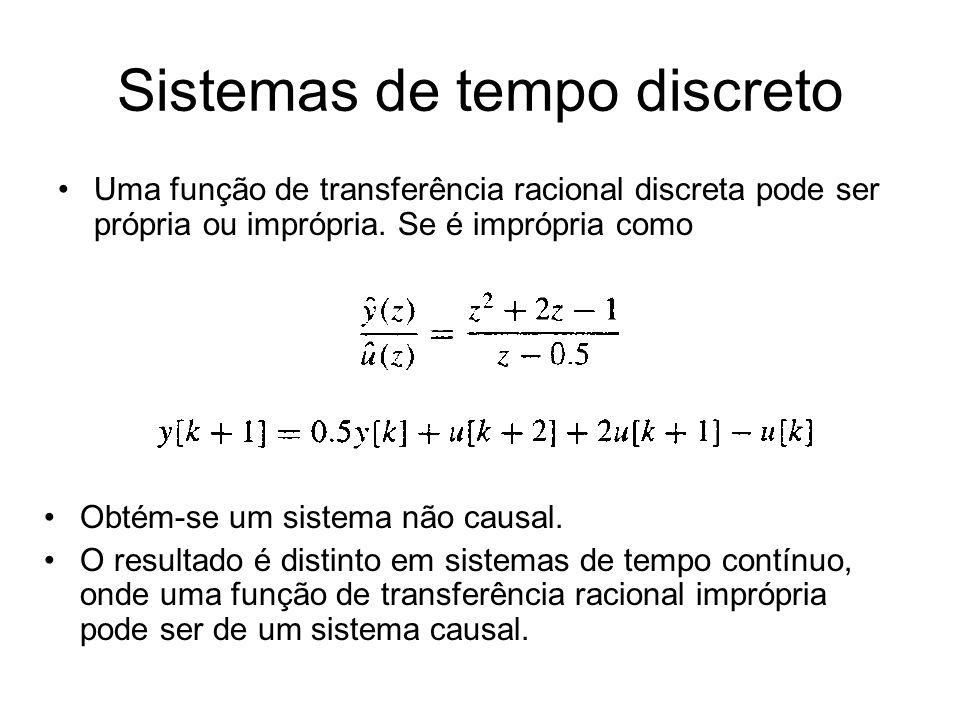 Sistemas de tempo discreto Uma função de transferência racional discreta pode ser própria ou imprópria. Se é imprópria como Obtém-se um sistema não ca