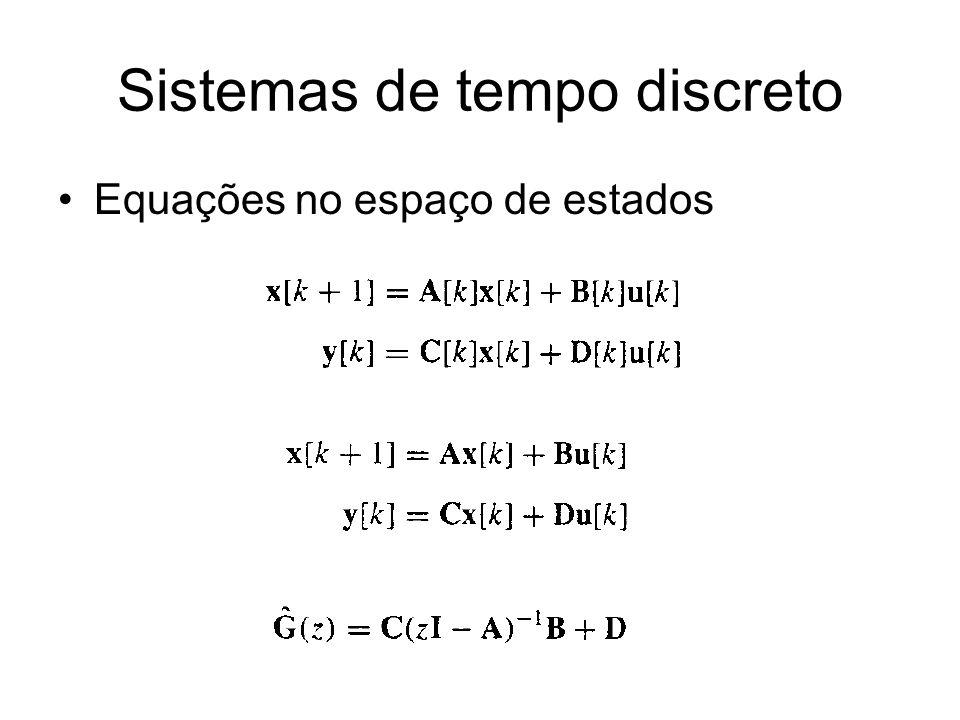 Sistemas de tempo discreto Equações no espaço de estados