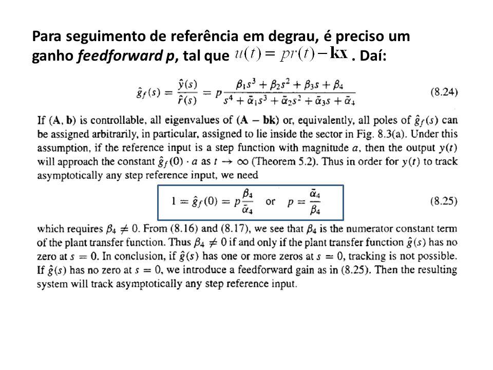 Para seguimento de referência em degrau, é preciso um ganho feedforward p, tal que. Daí: