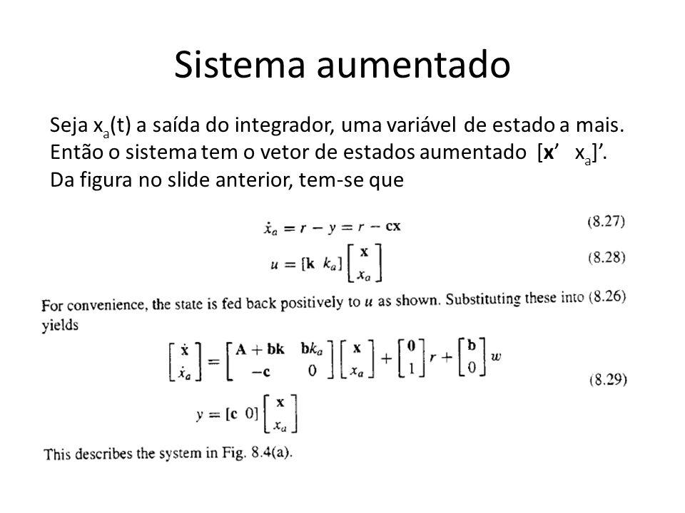 Sistema aumentado Seja x a (t) a saída do integrador, uma variável de estado a mais.