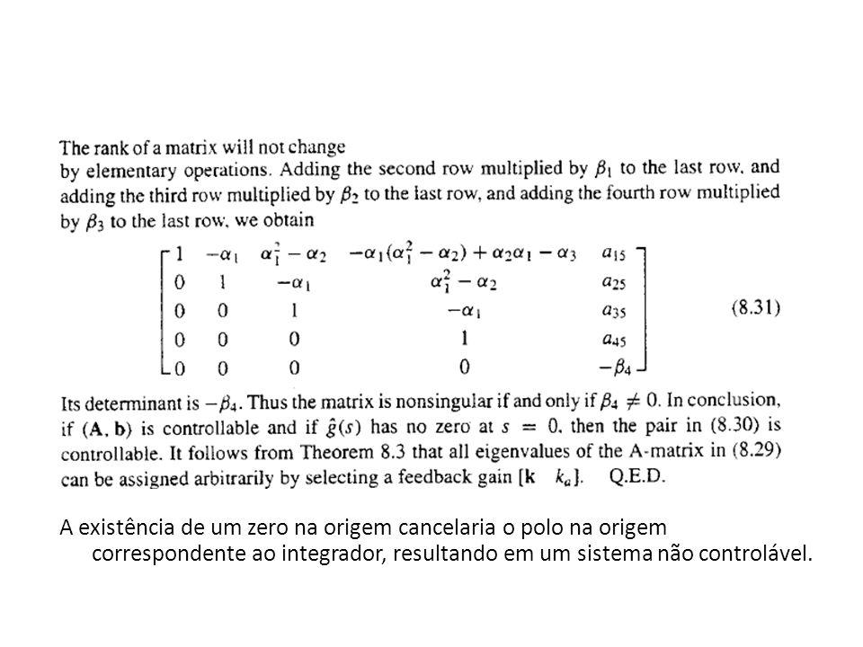 A existência de um zero na origem cancelaria o polo na origem correspondente ao integrador, resultando em um sistema não controlável.