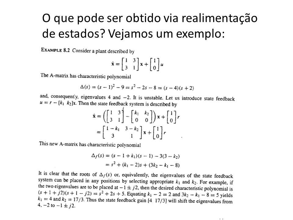 Regulação e seguimento Regulação: retornar à origem após uma perturbação (sinal de referência nulo) Seguimento: erro para uma entrada de referência não nula deve ser zero quando t (sinal de referência constante r(t)=a para todo t0) (seguimento assintótico de uma referência em degrau) Seguir uma entrada de referência r(t) não constante é denominado problema de servomecanismo.