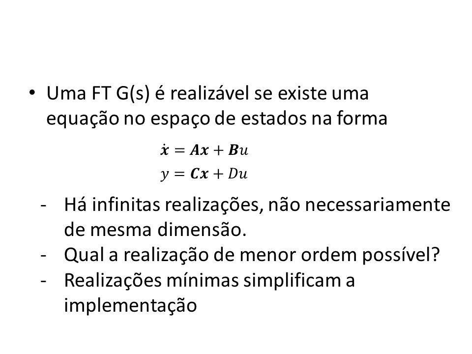 Uma FT G(s) é realizável se existe uma equação no espaço de estados na forma -Há infinitas realizações, não necessariamente de mesma dimensão. -Qual a