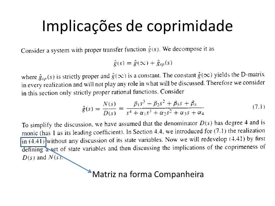 Implicações de coprimidade Matriz na forma Companheira