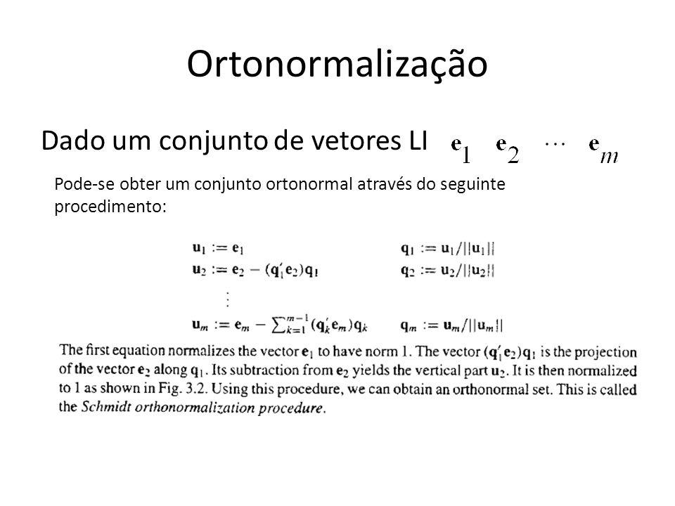 Dado um conjunto de vetores LI Pode-se obter um conjunto ortonormal através do seguinte procedimento: