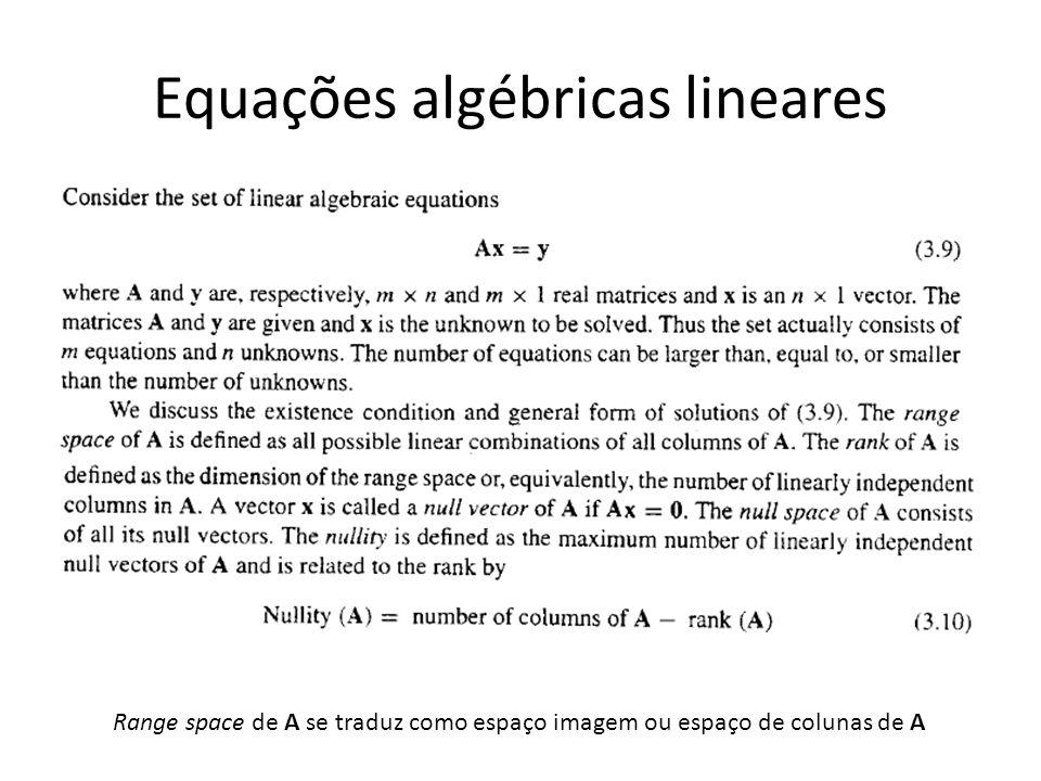 Equações algébricas lineares Range space de A se traduz como espaço imagem ou espaço de colunas de A
