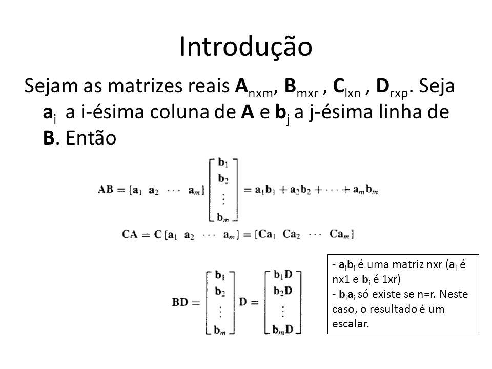 Introdução Sejam as matrizes reais A nxm, B mxr, C lxn, D rxp. Seja a i a i-ésima coluna de A e b j a j-ésima linha de B. Então - a i b i é uma matriz