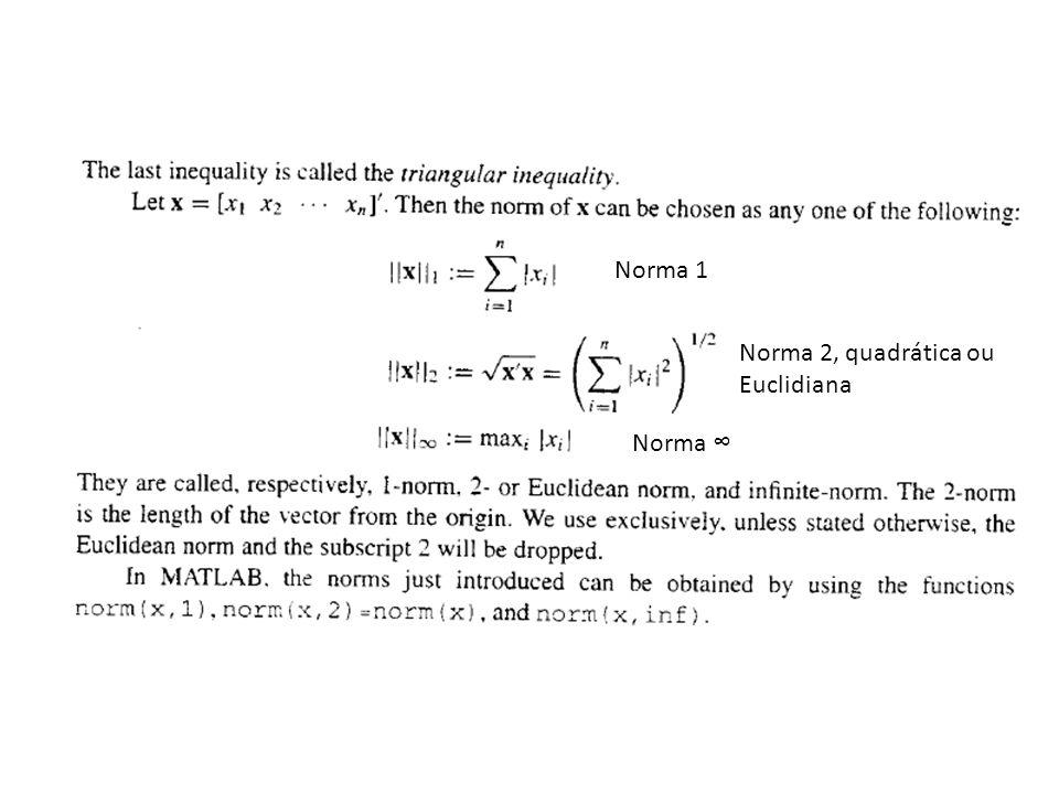 Norma 1 Norma 2, quadrática ou Euclidiana Norma