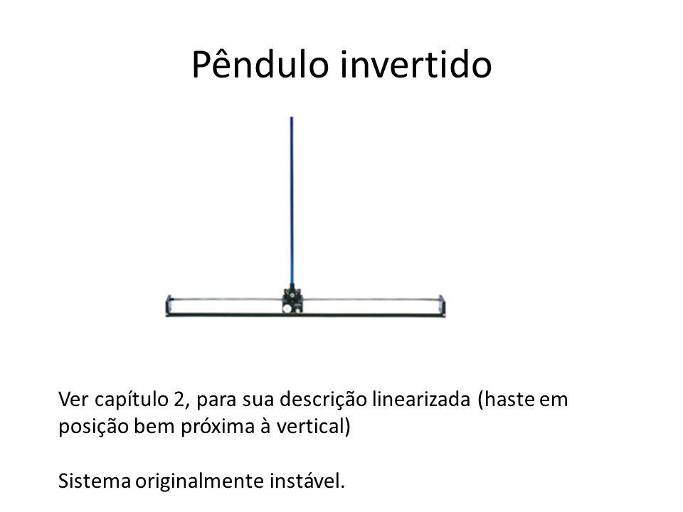 Pêndulo invertido Ver capítulo 2, para sua descrição linearizada (haste em posição bem próxima à vertical) Sistema originalmente instável.