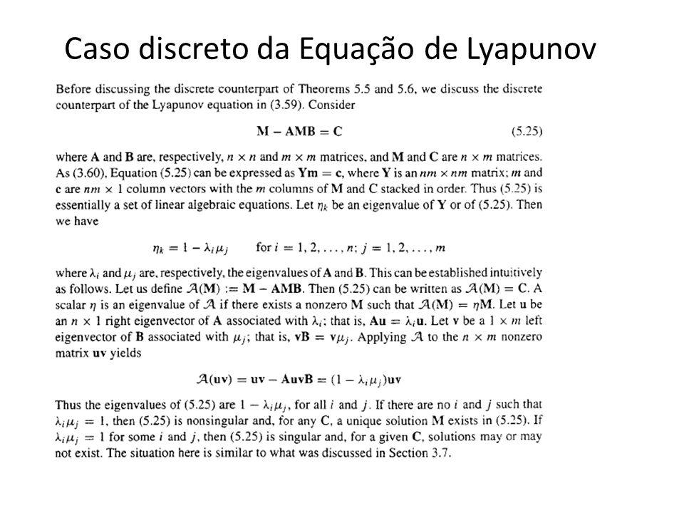 Caso discreto da Equação de Lyapunov