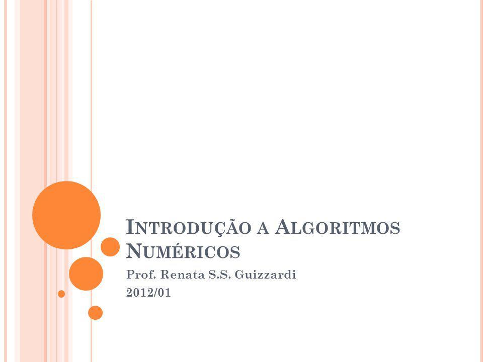 I NTRODUÇÃO A A LGORITMOS N UMÉRICOS Prof. Renata S.S. Guizzardi 2012/01