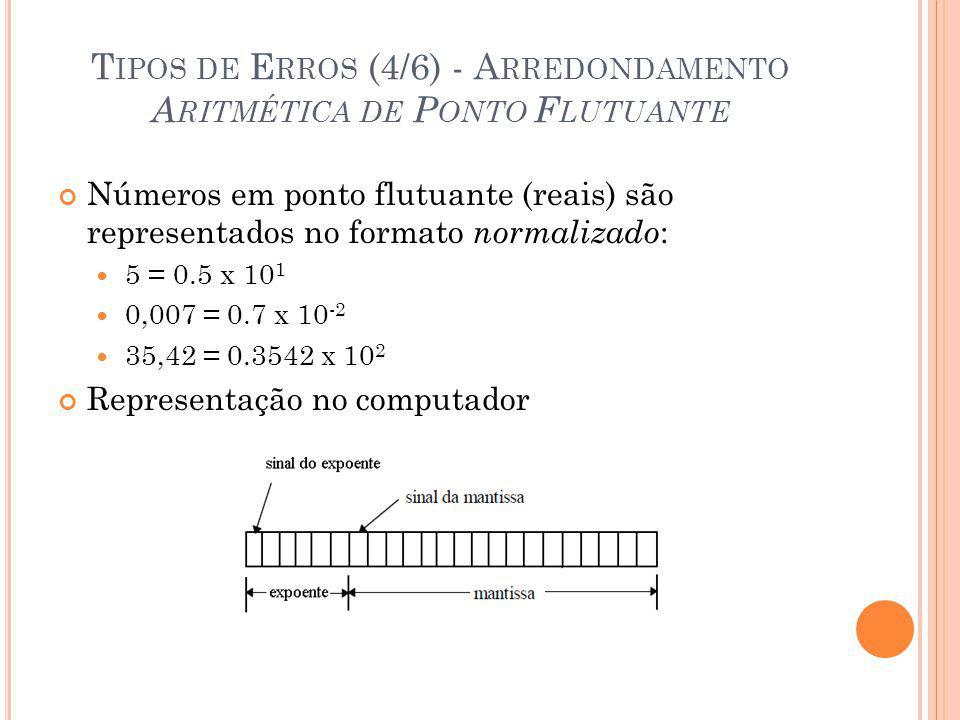 T IPOS DE E RROS (4/6) - A RREDONDAMENTO A RITMÉTICA DE P ONTO F LUTUANTE Números em ponto flutuante (reais) são representados no formato normalizado : 5 = 0.5 x 10 1 0,007 = 0.7 x 10 -2 35,42 = 0.3542 x 10 2 Representação no computador