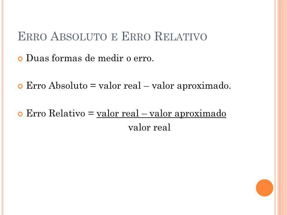 E RRO A BSOLUTO E E RRO R ELATIVO Duas formas de medir o erro.