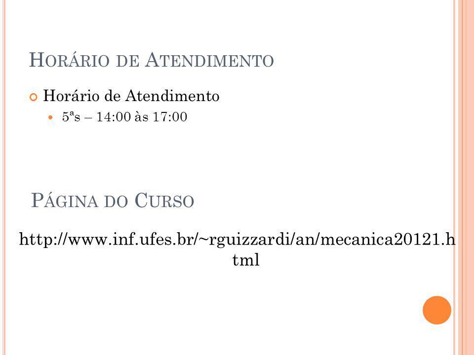H ORÁRIO DE A TENDIMENTO Horário de Atendimento 5ªs – 14:00 às 17:00 P ÁGINA DO C URSO http://www.inf.ufes.br/~rguizzardi/an/mecanica20121.h tml