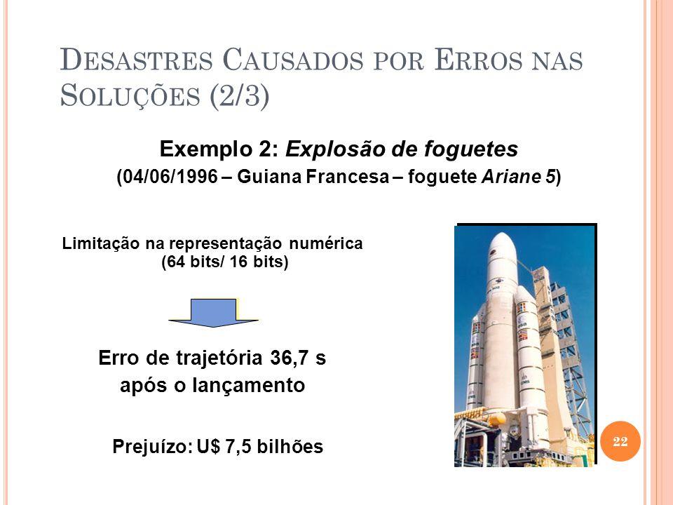Exemplo 2: Explosão de foguetes (04/06/1996 – Guiana Francesa – foguete Ariane 5) 22 Erro de trajetória 36,7 s após o lançamento Limitação na representação numérica (64 bits/ 16 bits) Prejuízo: U$ 7,5 bilhões D ESASTRES C AUSADOS POR E RROS NAS S OLUÇÕES (2/3)