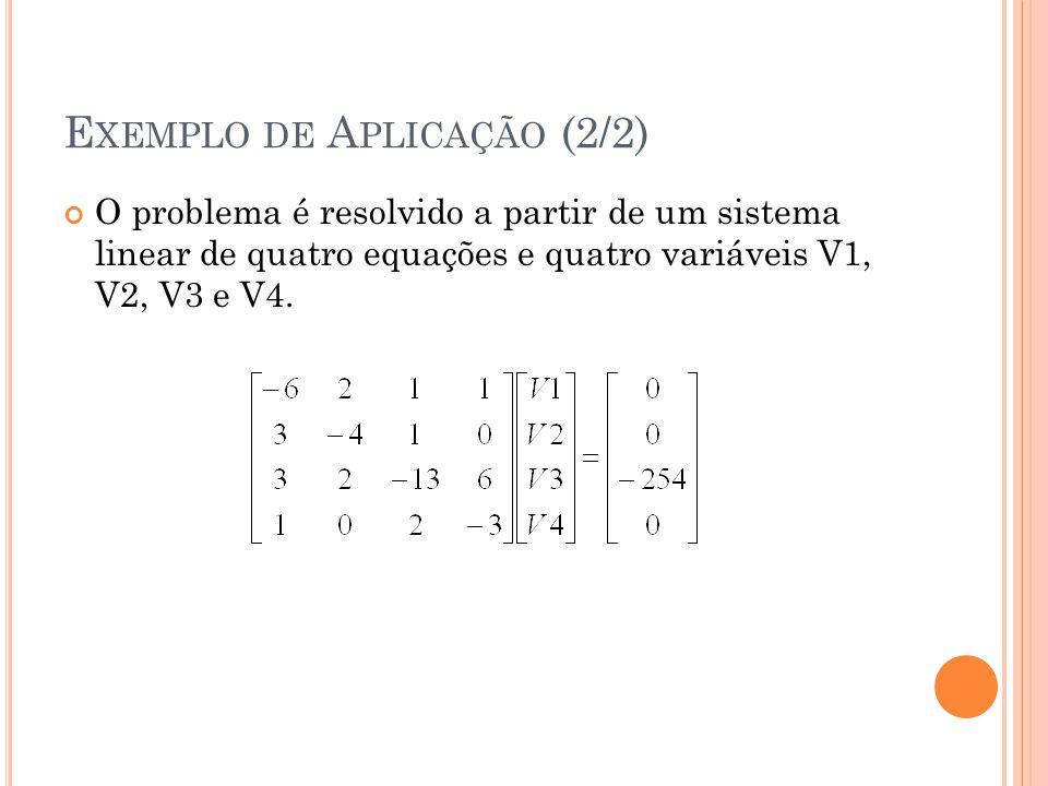 E XEMPLO DE A PLICAÇÃO (2/2) O problema é resolvido a partir de um sistema linear de quatro equações e quatro variáveis V1, V2, V3 e V4.