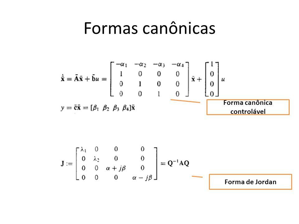 Formas canônicas Forma canônica controlável Forma de Jordan