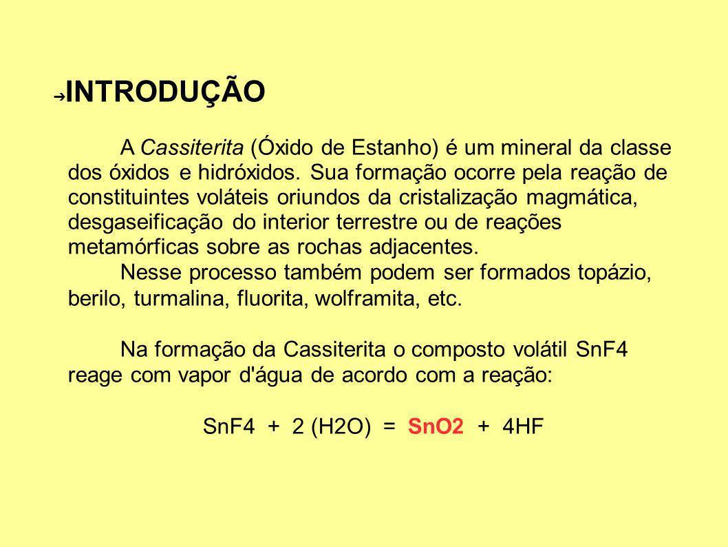 INTRODUÇÃO A Cassiterita (Óxido de Estanho) é um mineral da classe dos óxidos e hidróxidos.