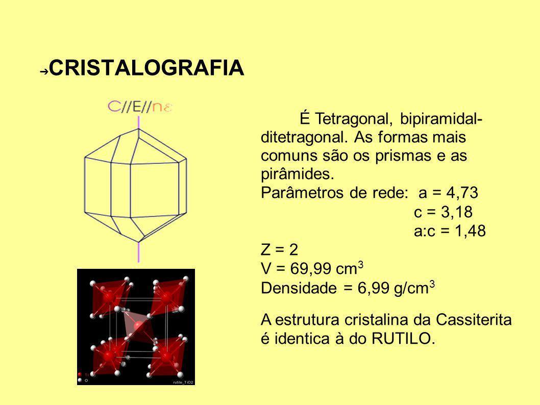 CRISTALOGRAFIA É Tetragonal, bipiramidal- ditetragonal.