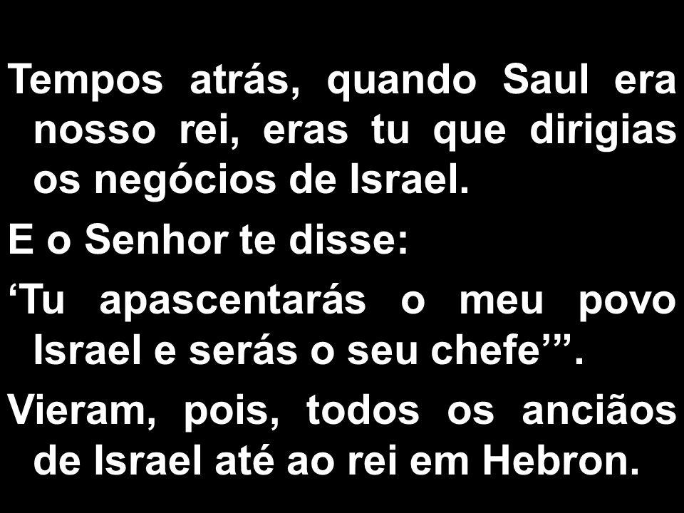 Tempos atrás, quando Saul era nosso rei, eras tu que dirigias os negócios de Israel. E o Senhor te disse: Tu apascentarás o meu povo Israel e serás o