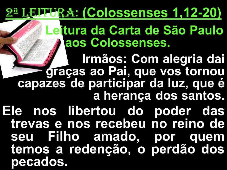 2ª LEITURA: (Colossenses 1,12-20) Leitura da Carta de São Paulo aos Colossenses. Irmãos: Com alegria dai graças ao Pai, que vos tornou capazes de part