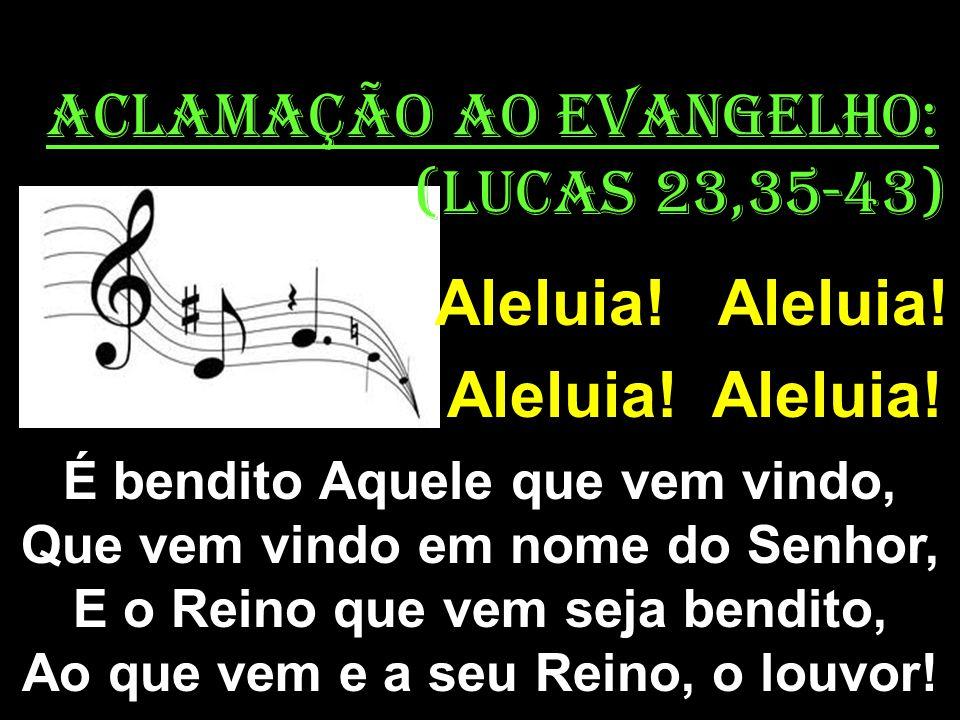 ACLAMAÇÃO AO EVANGELHO: (Lucas 23,35-43) Aleluia! Aleluia! É bendito Aquele que vem vindo, Que vem vindo em nome do Senhor, E o Reino que vem seja ben