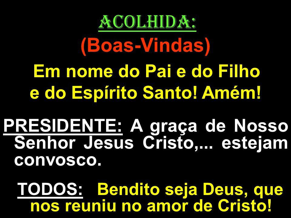 ACOLHIDA: (Boas-Vindas) Em nome do Pai e do Filho e do Espírito Santo! Amém! PRESIDENTE: A graça de Nosso Senhor Jesus Cristo,... estejam convosco. TO