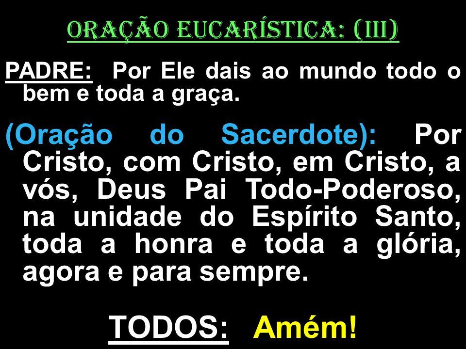 ORAÇÃO EUCARÍSTICA: (iII) PADRE: Por Ele dais ao mundo todo o bem e toda a graça. (Oração do Sacerdote): Por Cristo, com Cristo, em Cristo, a vós, Deu