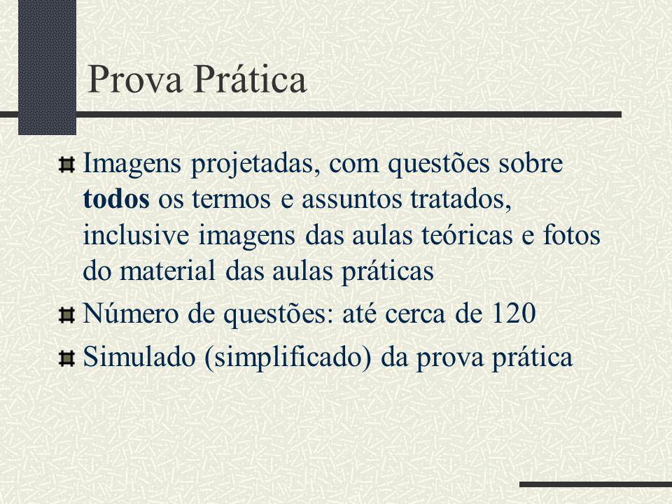 Prova Prática Imagens projetadas, com questões sobre todos os termos e assuntos tratados, inclusive imagens das aulas teóricas e fotos do material das