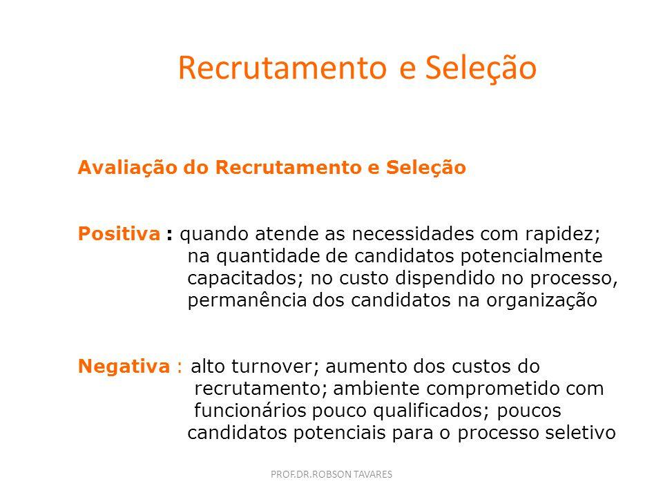 Recrutamento e Seleção Responsabilidade do Recrutamento : Pesquisar internamente e externamente os candidatos potenciais para preencher as vagas exist