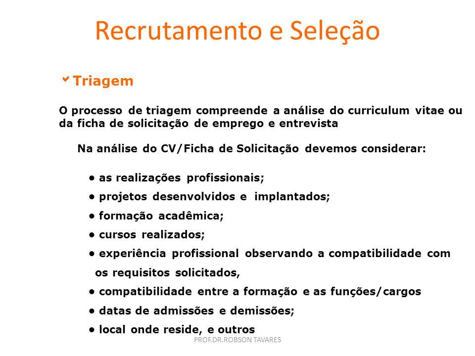 PROF.DR.ROBSON TAVARES Recrutamento e Seleção Meios para identificação dos candidatos externos Consulta ao Banco de Candidatos; Indicação de Funcionár