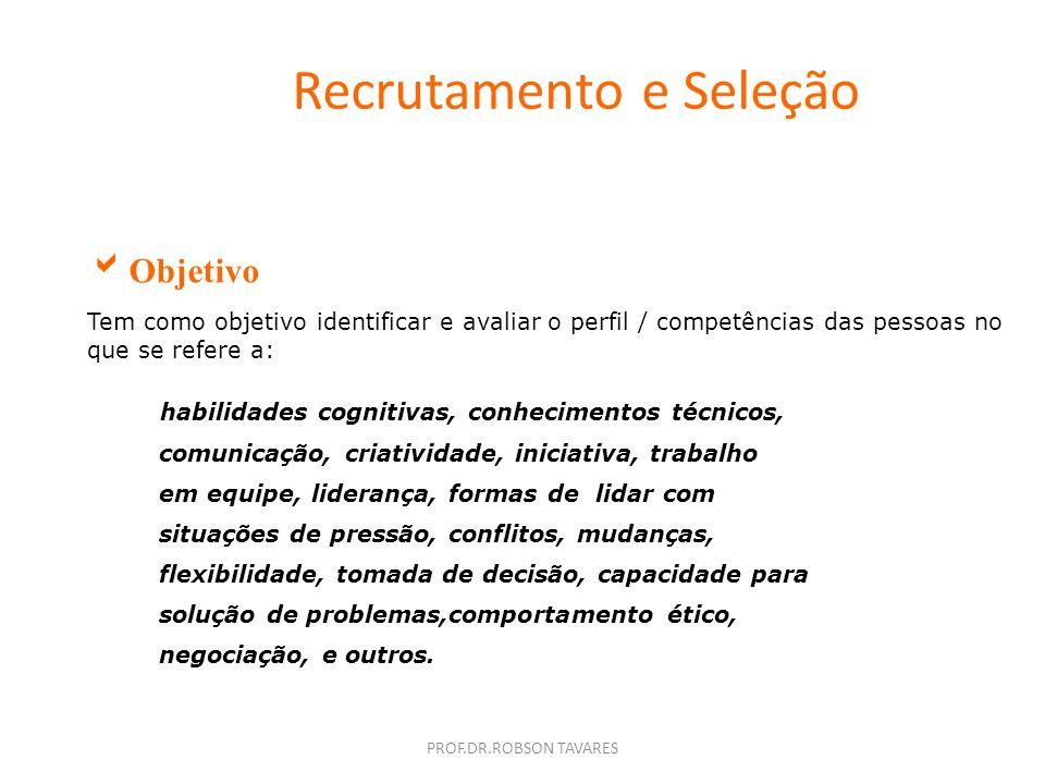 PROF.DR.ROBSON TAVARES Recrutamento e Seleção Processo de Seleção É um processo que procura integrar pessoas e trabalho (Bruno,2000) Podemos definir c