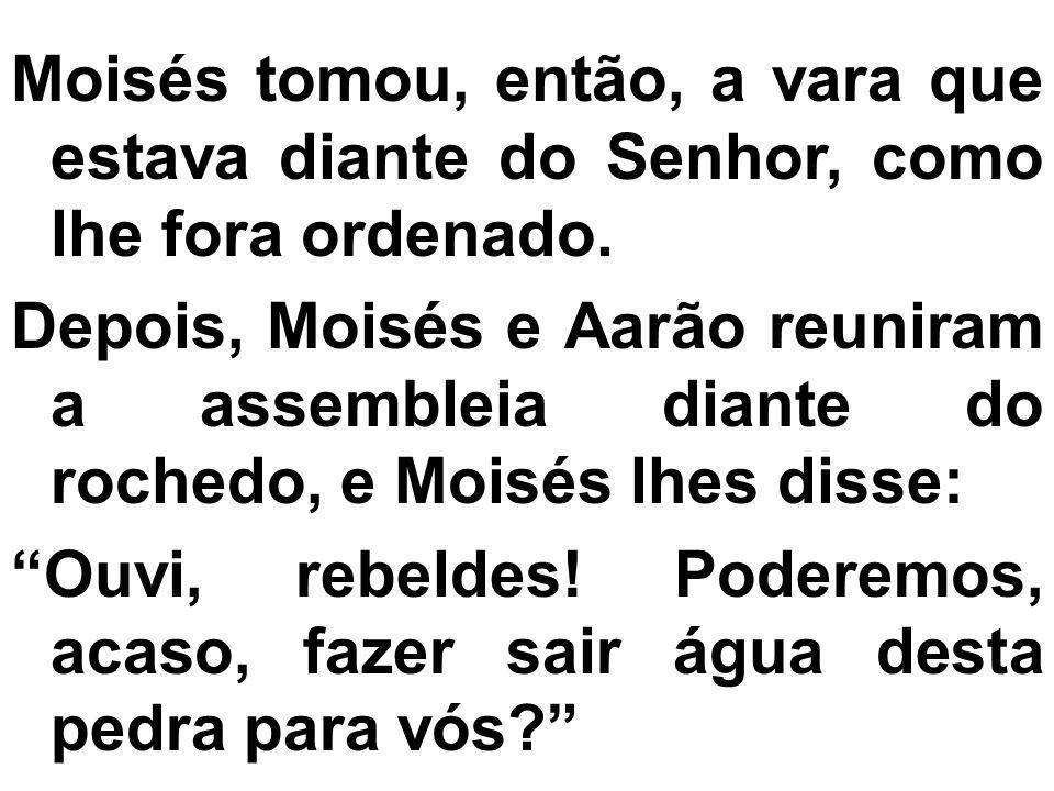 Moisés tomou, então, a vara que estava diante do Senhor, como lhe fora ordenado. Depois, Moisés e Aarão reuniram a assembleia diante do rochedo, e Moi