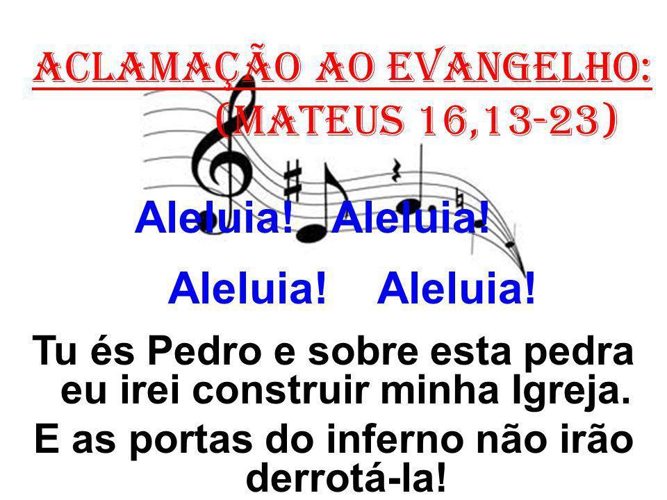 ACLAMAÇÃO AO EVANGELHO: (Mateus 16,13-23) Aleluia! Aleluia! Tu és Pedro e sobre esta pedra eu irei construir minha Igreja. E as portas do inferno não