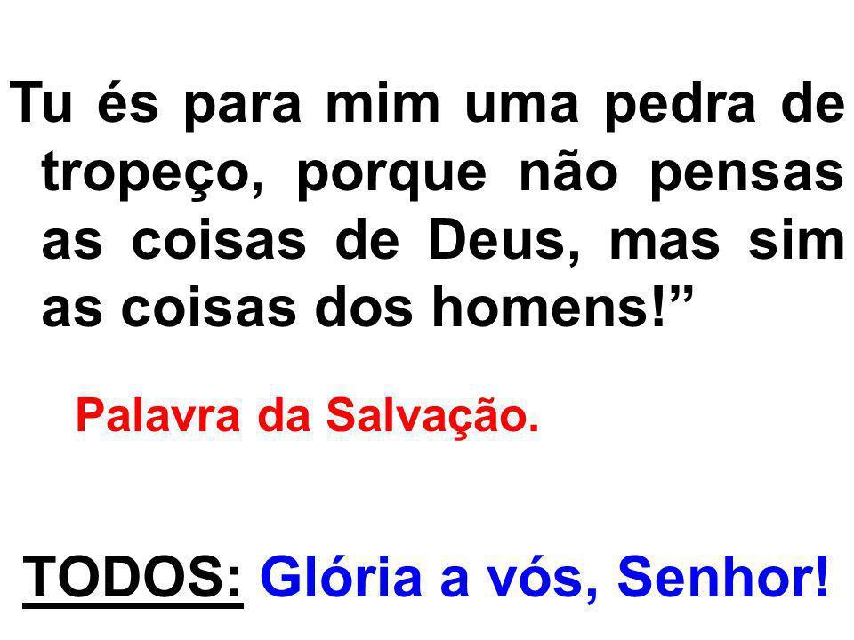 Tu és para mim uma pedra de tropeço, porque não pensas as coisas de Deus, mas sim as coisas dos homens! Palavra da Salvação. TODOS: Glória a vós, Senh
