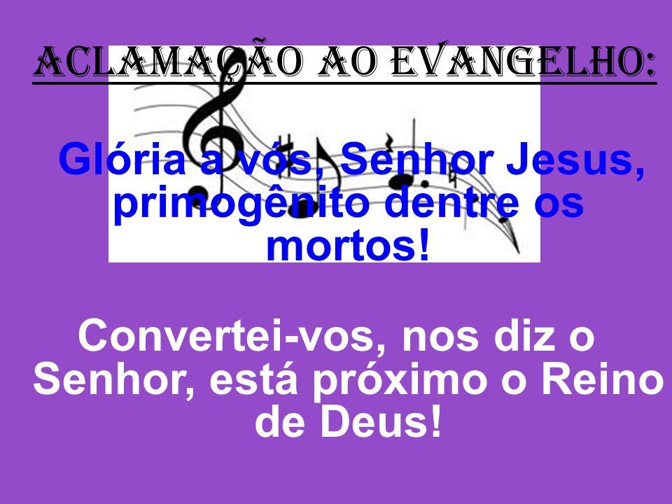 ACLAMAÇÃO AO EVANGELHO: Glória a vós, Senhor Jesus, primogênito dentre os mortos.